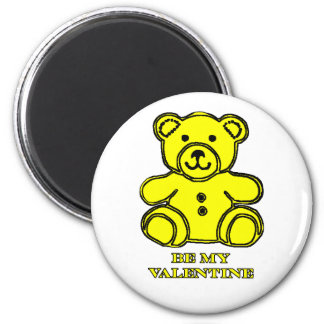 Be My Valentine Bear Yellow The MUSEUM Zazzle Gift 2 Inch Round Magnet