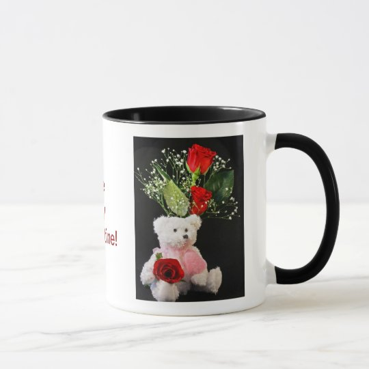 Be My Valentine Coffee Cup with Bear and Roses
