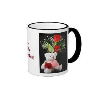 Be My Valentine Coffee Cup with Bear and Roses Mugs