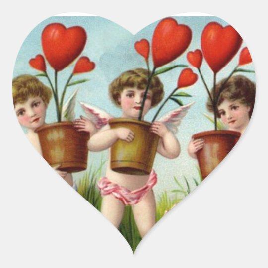 Be My Valentine Cupid Heart Sticker
