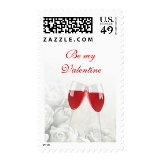 Be My Valentine Red Champagne Toasting Flutes Postage Stamps