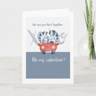 Be My Valentine Cute Cats Purrfect Together Holiday Card