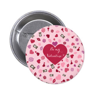 Be my Valentine? Cute pink pattern 2 Inch Round Button
