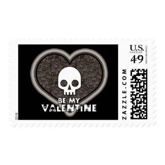 Be My Valentine Cute Punk Skull Postage Stamp