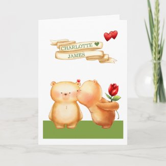 Be My Valentine Cute Teddy Bears Personalized Holiday Card