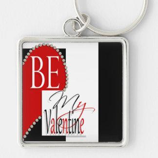 Be my valentine diamond heart keychain
