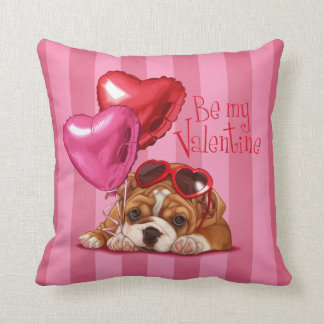 """Be My Valentine"" English Bulldog Throw Pillows"