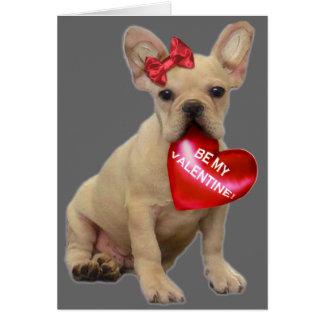 Be My Valentine French bulldog Card