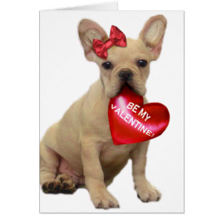Be my Valentine French bulldog puppy notecard Greeting Card