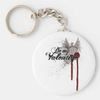 Be My Valentine Grunge Blood Splatter Keychain