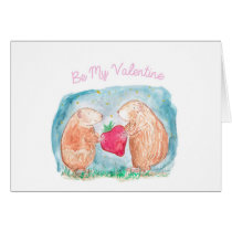 Be My Valentine Guinea Pigs In Love Painting Card
