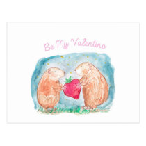 Be My Valentine Guinea Pigs In Love Painting Postcard