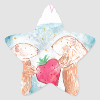 Be My Valentine Guinea Pigs In Love Painting Star Sticker