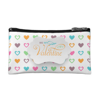 Be My Valentine Heart Filled Small Cosmetic  Bag