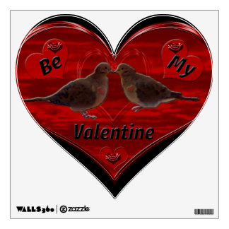 Be My Valentine Kissing Doves Wall Decal