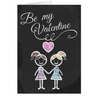 Be My Valentine Lesbian Chalkboard Themed Card