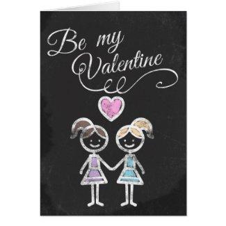 Be My Valentine Lesbian Chalkboard Themed Greeting Card