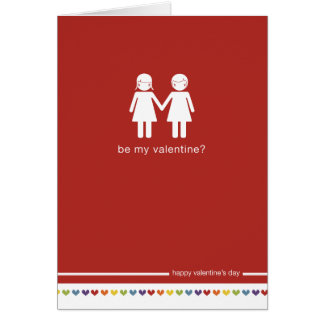 Be My Valentine Lesbian Valentine's day Card
