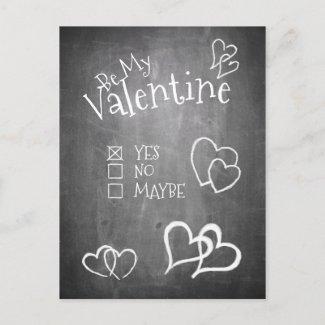 Be my Valentine on a chalk board Holiday Postcard