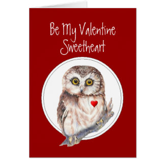 Be My Valentine Owl always Love You Sweetheart Card