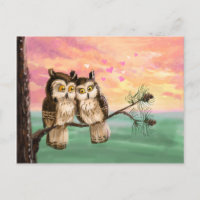 Be my valentine owls holiday postcard