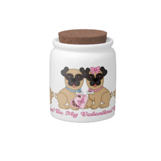 Be My Valentine Pug Tees and Gifts Candy Dishes