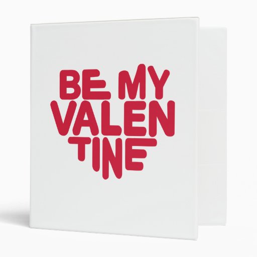 Be my valentine red heart 3 ring binders