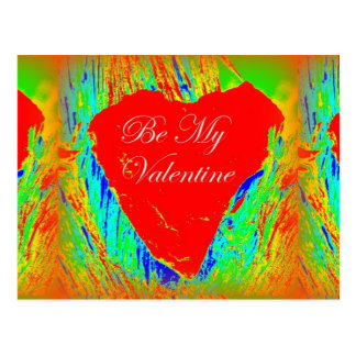 be my valentine red heart postcard