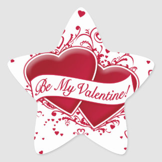 Be My Valentine! Red Hearts Star Sticker
