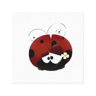 Be My Valentine Red Ladybug Cartoon Canvas Print