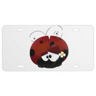 Be My Valentine Red Ladybug Cartoon License Plate