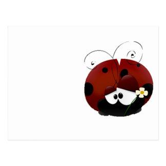 Be My Valentine Red Ladybug Cartoon Postcard