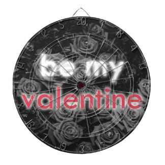 Be My Valentine rose bouquet on black and white Dartboard With Darts