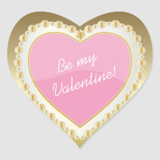 Be My Valentine Shiny Pink Heart Heart Sticker