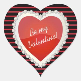 Be My Valentine Shiny Red Heart Heart Sticker