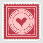 Be My Valentine Square Stickers