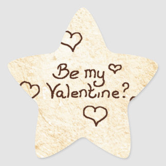Be my valentine star sticker