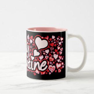 """Be My Valentine"" text hearts red pink black mug"