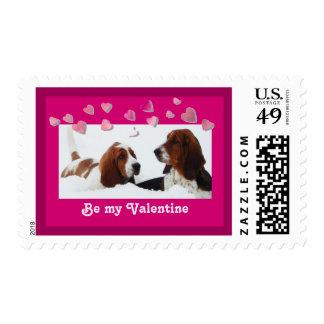 """Be My Valentine"" U.S. Postage Stamp w/Bassets"