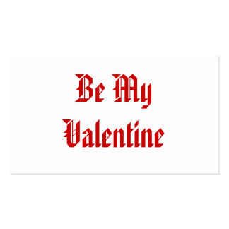 Be My Valentine. Valentines Day. Red and White. Business Cards
