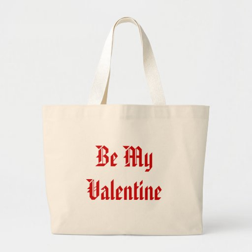 Be My Valentine. Valentines Day. Red and White. Jumbo Tote Bag