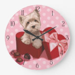 Be My Valentine Westie Puppy Large Clock