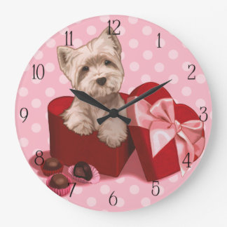 Be My Valentine Westie Puppy Large Clock