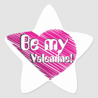 Be my valentine with pink heart star sticker