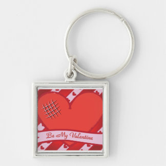 Be my valentine with red heart and stripes keychain
