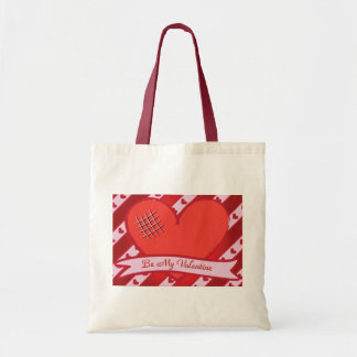 Be my valentine with red heart and stripes tote bag