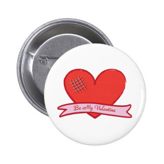 Be my valentine with red heart pin