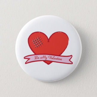 Be my valentine with red heart pinback button