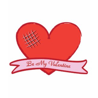 Be my valentine with red heart shirt