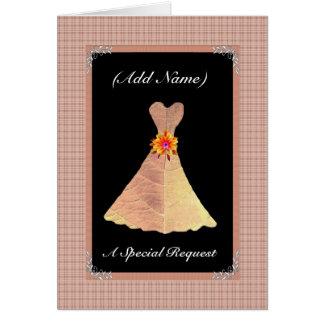 Be My Wedding Reader  GOLD Leaf Dress & Plaid Trim Greeting Card